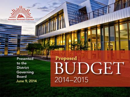 PRELIMINARY BUDGET 200-2009 PRESENTED TO THE DISTRICT GOVERNING BOARD APRIL 17, 2008.