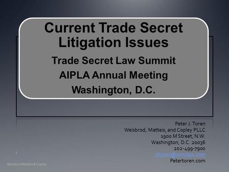 Current Trade Secret Litigation Issues Trade Secret Law Summit AIPLA Annual Meeting Washington, D.C. Peter J. Toren Weisbrod, Matteis, and Copley PLLC.
