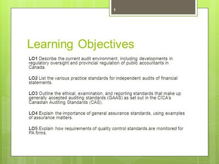 Learning Objectives LO1 Describe the current audit environment, including developments in regulatory oversight and provincial regulation of public accountants.