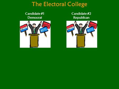 The Electoral College Candidate #1 Democrat Candidate #2 Republican.