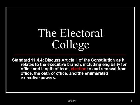The Electoral College Standard 11.4.4: Discuss Article II of the Constitution as it relates to the executive branch, including eligibility for office and.