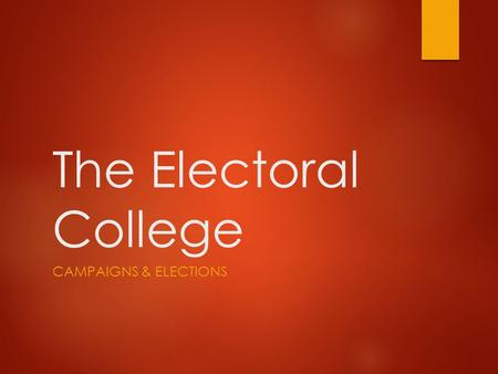 The Electoral College CAMPAIGNS & ELECTIONS. C-SPAN Video  Link (Winner take all vs. proportional system) Link.
