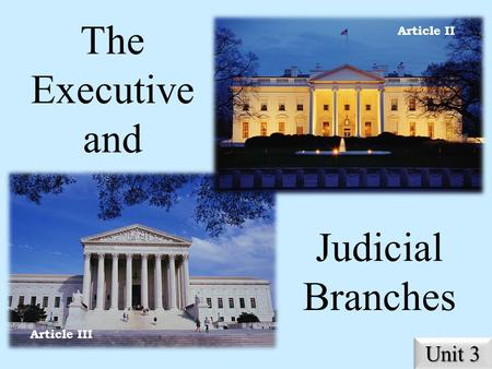 The Executive and Judicial Branches Unit 3 Article II Article III.