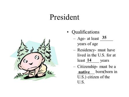 President Qualifications –Age- at least ______ years of age –Residency- must have lived in the U.S. for at least ______ years –Citizenship- must be a.