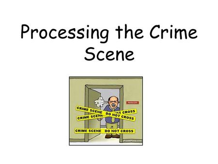 Processing the Crime Scene. First responders job: –SAFETY first (scene and victims) –Secure the scene People, press Don't move body w/o consent of coroner.