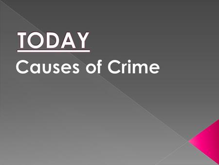 Causes of Crime  Each person will become an expert on 1 cause of crime.  Learn all about this cause of crime.  In turn, teach your cause to the others.