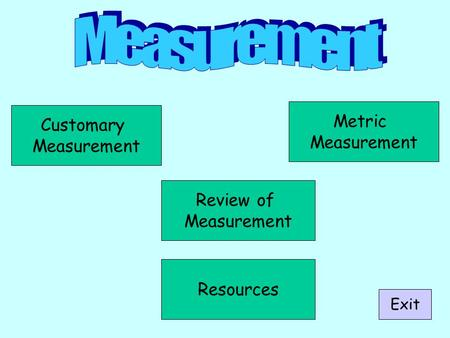 Customary Measurement Metric Measurement Review of Measurement Exit Resources.