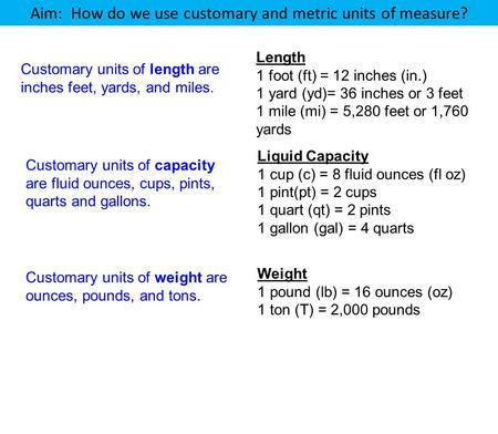 Aim: How do we use customary and metric units of measure? Length 1 foot (ft) = 12 inches (in.) 1 yard (yd)= 36 inches or 3 feet 1 mile (mi) = 5,280 feet.
