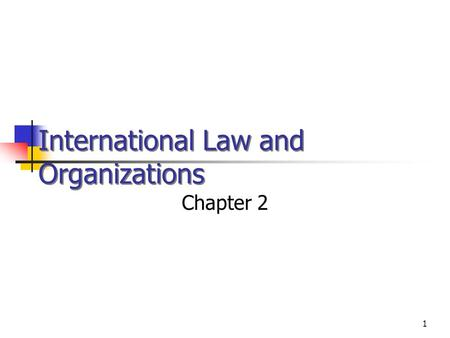 1 International Law and Organizations Chapter 2 © 2002 West /Thomson Learning.