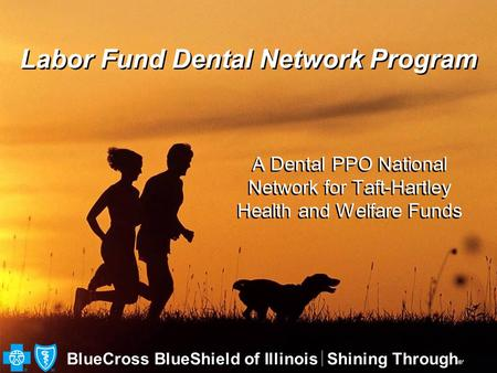BlueCross BlueShield of IllinoisShining Through ®′ Labor Fund Dental Network Program A Dental PPO National Network for Taft-Hartley Health and Welfare.