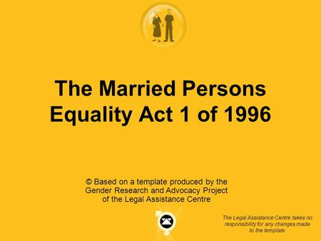 The Married Persons Equality Act 1 of 1996