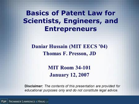 Basics of Patent Law for Scientists, Engineers, and Entrepreneurs