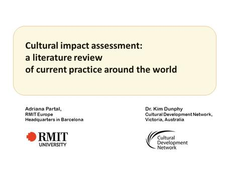 Cultural impact assessment: a literature review