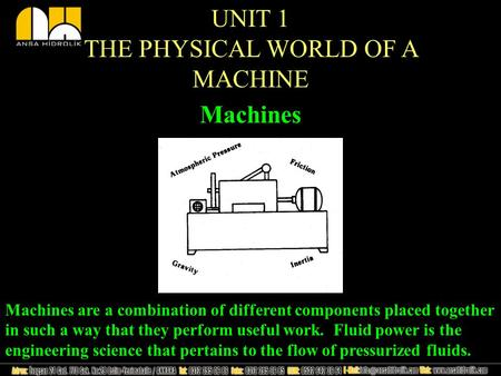 Machines UNIT 1 THE PHYSICAL WORLD OF A MACHINE Machines are a combination of different components placed together in such a way that they perform useful.
