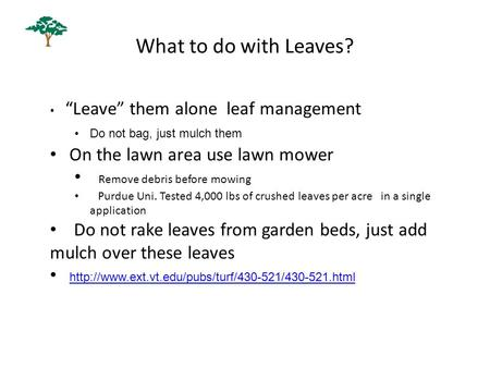 "What to do with Leaves? ""Leave"" them alone leaf management Do not bag, just mulch them On the lawn area use lawn mower Remove debris before mowing Purdue."