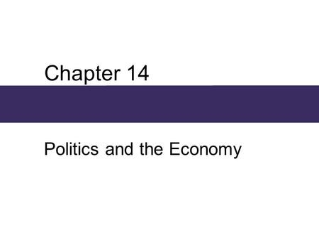 Chapter 14 Politics and the Economy. Chapter Outline  Political and Economic Institutions  Power and Political Institutions  Power and the State 