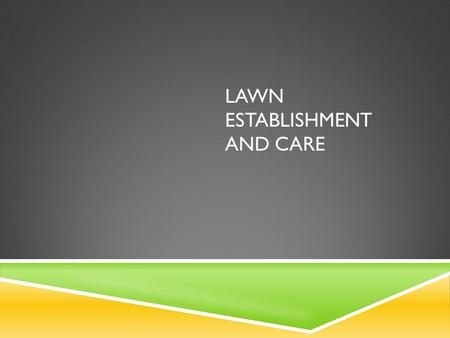 LAWN ESTABLISHMENT AND CARE. LEARNING OBJECTIVES  Compare and contrast the processes of establishing a lawn by seeding vs. sodding.  Describe the proper.