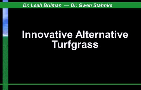 Innovative Alternative Turfgrass Dr. Leah Brilman — Dr. Gwen Stahnke.