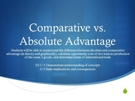 Explain the difference between comparative and absolute advantage essay