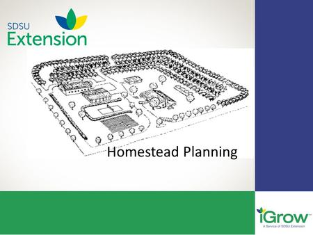 2 Homestead Planning. Planning Factors 1.Water Supply 2.Services 3.Fire Prevention 4.Security 5.Space.