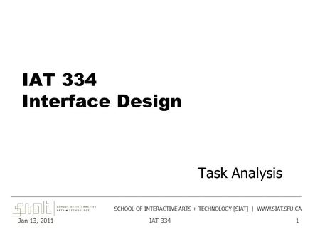 Jan 13, 2011IAT 3341 IAT 334 Interface Design Task Analysis ______________________________________________________________________________________ SCHOOL.