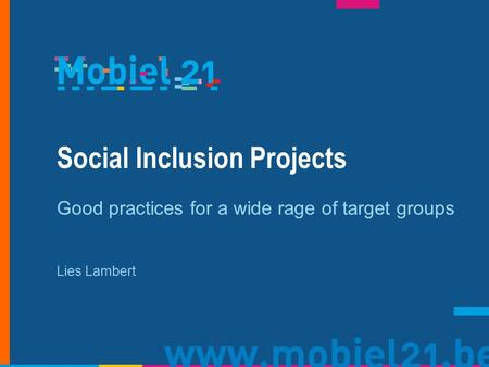 Social Inclusion Projects Good practices for a wide rage of target groups Lies Lambert.