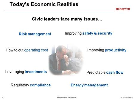1 HON Introduction Honeywell Confidential Today's Economic Realities Civic leaders face many issues… Improving productivity Improving safety & security.