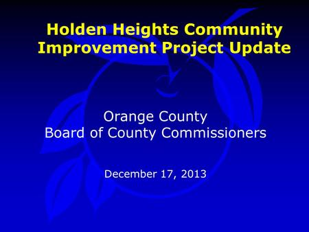 Holden Heights Community Improvement Project Update Orange County Board of County Commissioners December 17, 2013.