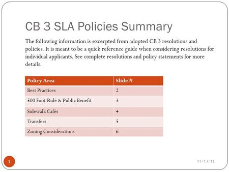 CB 3 SLA Policies Summary The following information is excerpted from adopted CB 3 resolutions and policies. It is meant to be a quick reference guide.