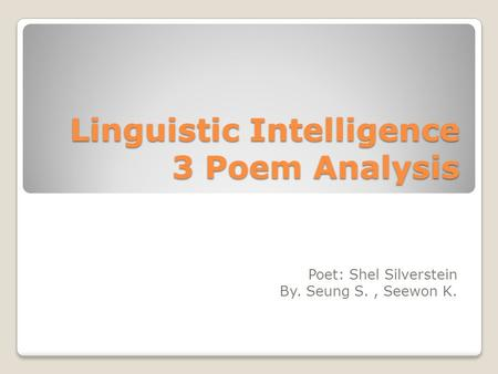 Linguistic Intelligence 3 Poem Analysis