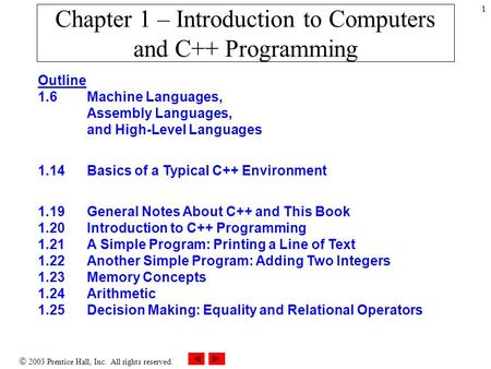  2003 Prentice Hall, Inc. All rights reserved. 1 Chapter 1 – Introduction to Computers and C++ Programming Outline 1.6 Machine Languages, Assembly Languages,
