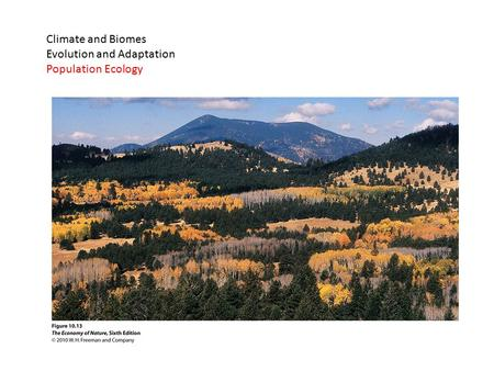 Climate and Biomes Evolution and Adaptation Population Ecology.