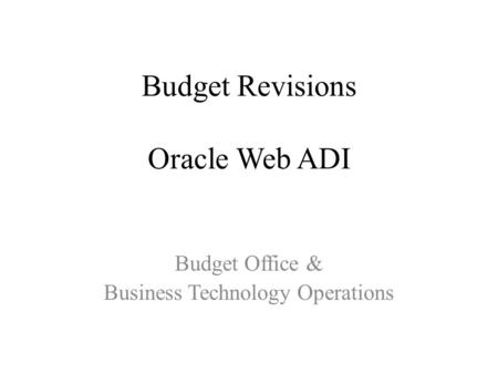 Budget Revisions Oracle Web ADI