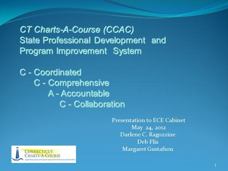 Presentation to ECE Cabinet May 24, 2012 Darlene C. Ragozzine Deb Flis Margaret Gustafson 1 CT Charts-A-Course (CCAC) State Professional Development and.