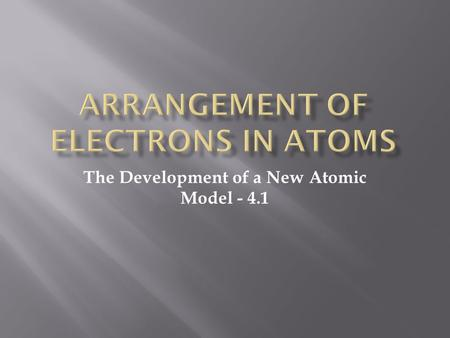The Development of a New Atomic Model - 4.1.  Problem with Rutherford model – no explanation of where e-s are  New info about light led to new model.
