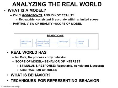 © Amit Mitra & Amar Gupta ANALYZING THE REAL WORLD WHAT IS A MODEL? –ONLY REPRESENTS, AND IS NOT REALITY »Repeatable, consistent & accurate within a limited.
