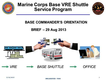 UNCLASSIFIED - FOUO 5/16/20151 Marine Corps <strong>Base</strong> VRE Shuttle Service Program <strong>BASE</strong> COMMANDER'S ORIENTATION BRIEF – 29 Aug 2013 BRIEF – 29 Aug 2013 VRE <strong>BASE</strong>.