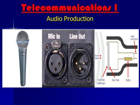 Telecommunications 1 Audio Production What's your background? Telecommunications 1 Audio Production What are some terms? Have you noticed audio? Questions.