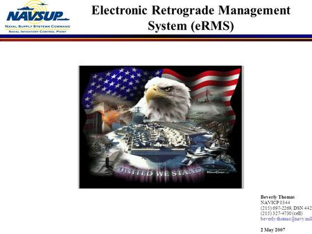 Electronic Retrograde Management System (eRMS)