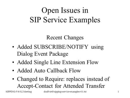 SIPPING 5/6/02 Meetingdraft-ietf-sipping-service-examples-01.txt1 Open Issues in SIP Service Examples Recent Changes Added SUBSCRIBE/NOTIFY using Dialog.