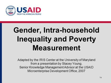 1a Gender, Intra-household Inequality and Poverty Measurement Adapted by the IRIS Center at the University of Maryland from a presentation by Stacey Young,
