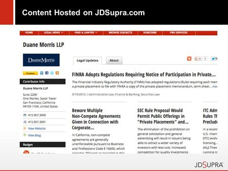 Content Hosted on JDSupra.com. Alerts, articles, blog posts…