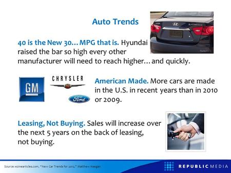 Auto Trends 40 is the New 30…MPG that is. Hyundai raised the bar so high every other manufacturer will need to reach higher…and quickly. American Made.