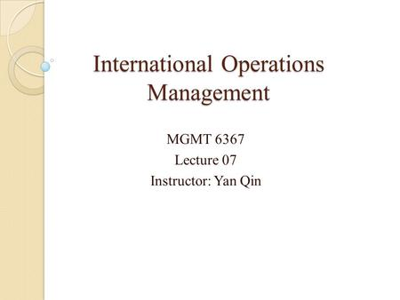 international operation management ikea On the interface between operations and human resources management abstract operations management (om) and human resources management (hrm) have historically been very.