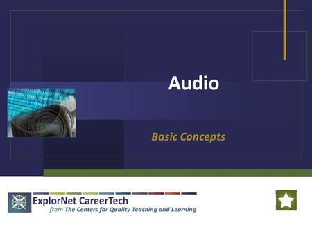 Audio Basic Concepts. Audio in Multimedia Digital Audio: Sound that has been captured or created electronically by a computer In a multimedia production,
