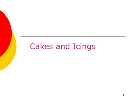 1 Cakes and Icings. 2 Chapter Objectives 1.Demonstrate the five basic cake mixing methods. 2.Describe the characteristics of high-fat cakes and low-fat.