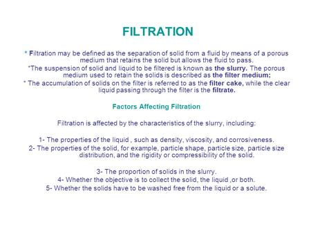 Factors Affecting Filtration
