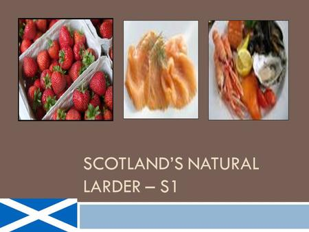 "SCOTLAND'S NATURAL LARDER – S1. Task  2015 is to be a celebration of Scotland as the ""Land of Food & Drink.""  Choose 1 of the tasks described below."
