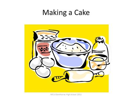 Making a Cake MCU Glenthorne High School 2012. Look at your recipe card 'Make' your cake Take it out of the oven (draw it) Now compare them- are they.