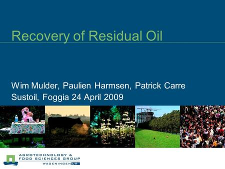 Recovery of Residual Oil Wim Mulder, Paulien Harmsen, Patrick Carre Sustoil, Foggia 24 April 2009.